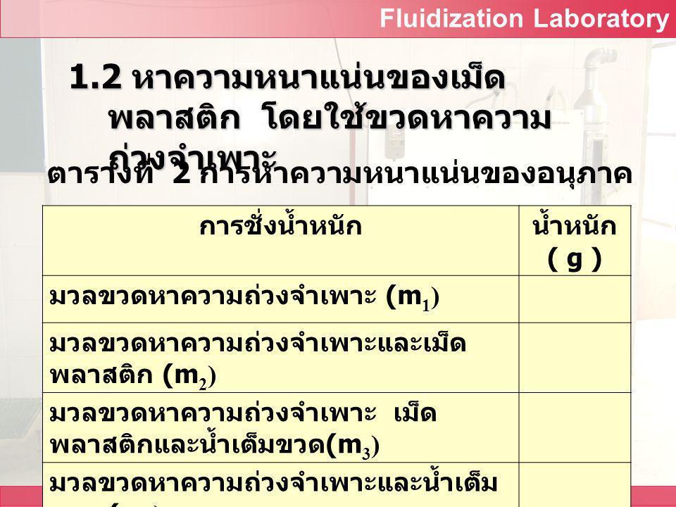 Fluidization Laboratory All Design and Development by Food Engineering Department ตารางที่ 1 การวัดเส้นศูนย์กลางของ อนุภาค ตัวอย่า งที่ ความ กว้าง (cm