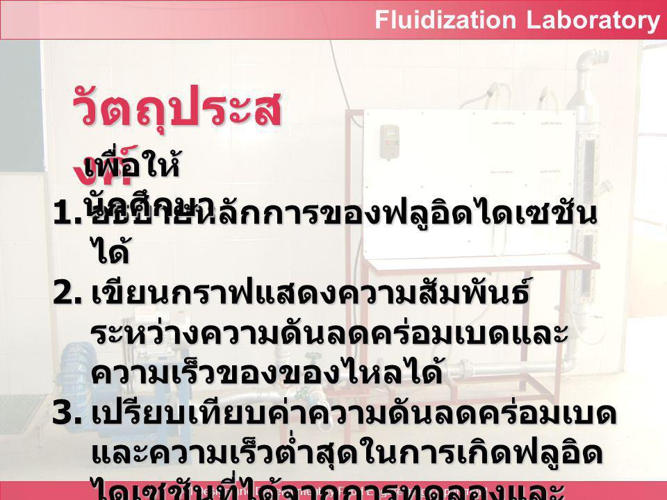 Fluidization Laboratory All Design and Development by Food Engineering Department ปฏิบัติการเรื่อง การทำฟลูอิดไดเซชันด้วยก๊าซ