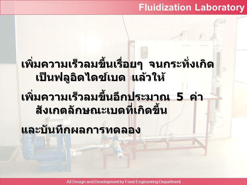 Fluidization Laboratory All Design and Development by Food Engineering Department ความดันคร่อม flow meter ( cm Hg ) ความดัน คร่อมเบด ความสูง ของเบด u