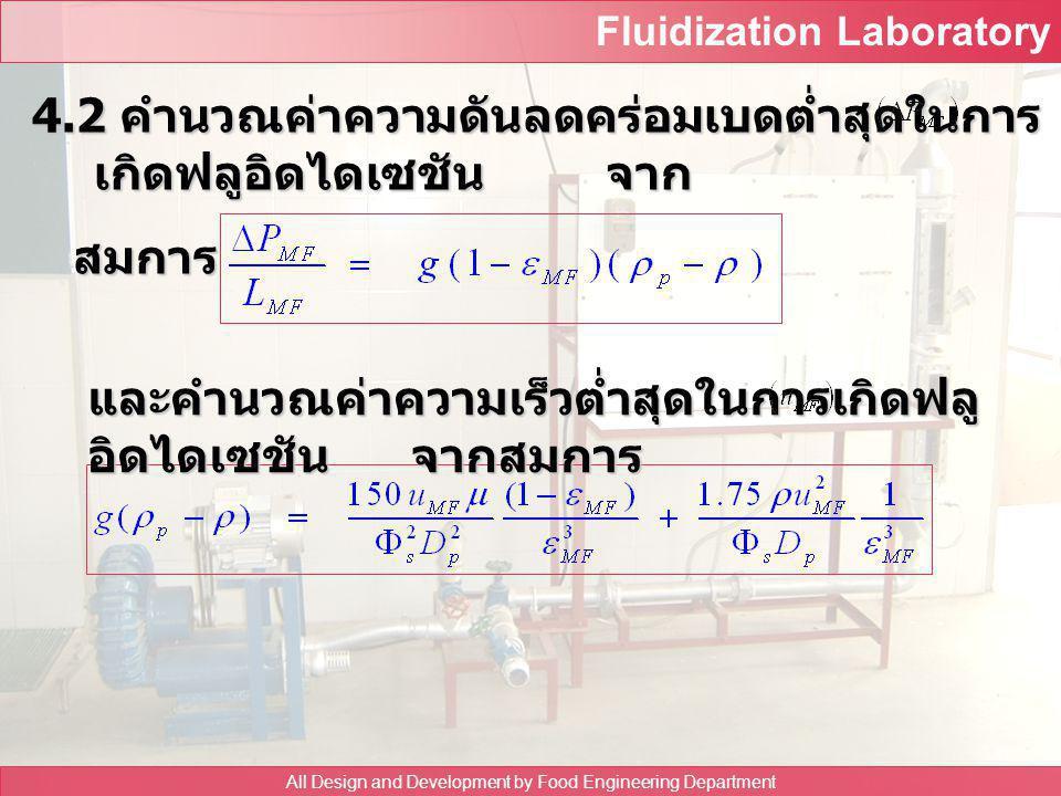 Fluidization Laboratory All Design and Development by Food Engineering Department 4.1 สร้างกราฟความสัมพันธ์ระหว่างความดันลด คร่อมเบดและความเร็วลม อ่าน