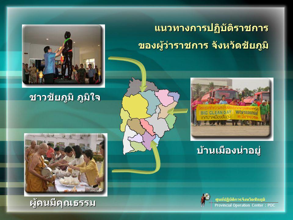 แนวทางการปฏิบัติราชการ ของผู้ว่าราชการ จังหวัดชัยภูมิ ศูนย์ปฏิบัติการจังหวัดชัยภูมิ Provincial Operation Center : POC ผู้คนมีคุณธรรม บ้านเมืองน่าอยู่ ชาวชัยภูมิ ภูมิใจ