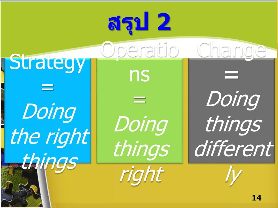 สรุป 2 14 Strategy= Doing the right things Strategy= Doing the right things Operatio ns= Doing things right Operatio ns= Doing things right Change= Do