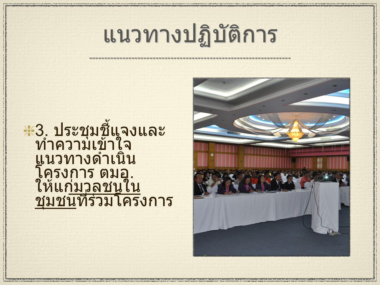 แนวทางปฏิบัติการ 3.ประชุมชี้แจงและ ทำความเข้าใจ แนวทางดำเนิน โครงการ ตมอ.