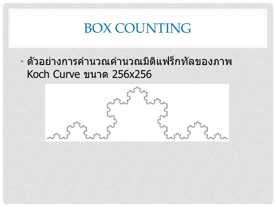 BOX COUNTING ตัวอย่างการคำนวณคำนวณมิติแฟร็กทัลของภาพ Koch Curve ขนาด 256x256