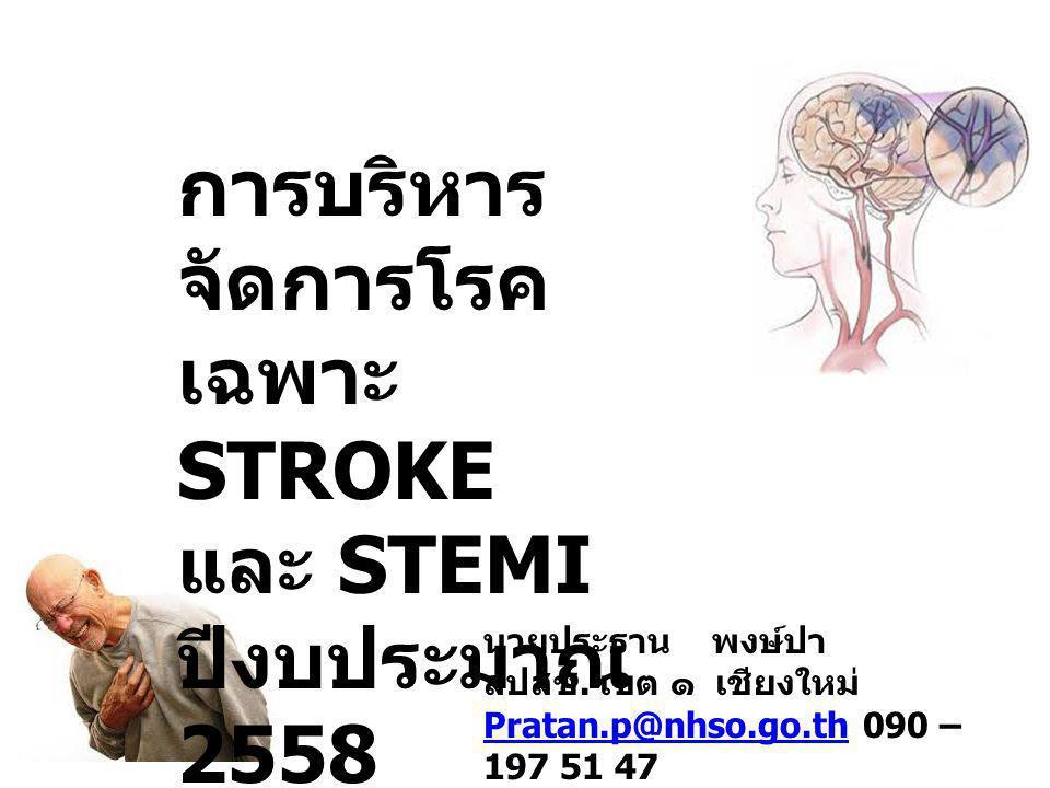 การบริหาร จัดการโรค เฉพาะ STROKE และ STEMI ปีงบประมาณ 2558 นายประธาน พงษ์ปา สปสช. เขต ๑ เชียงใหม่ Pratan.p@nhso.go.thPratan.p@nhso.go.th 090 – 197 51
