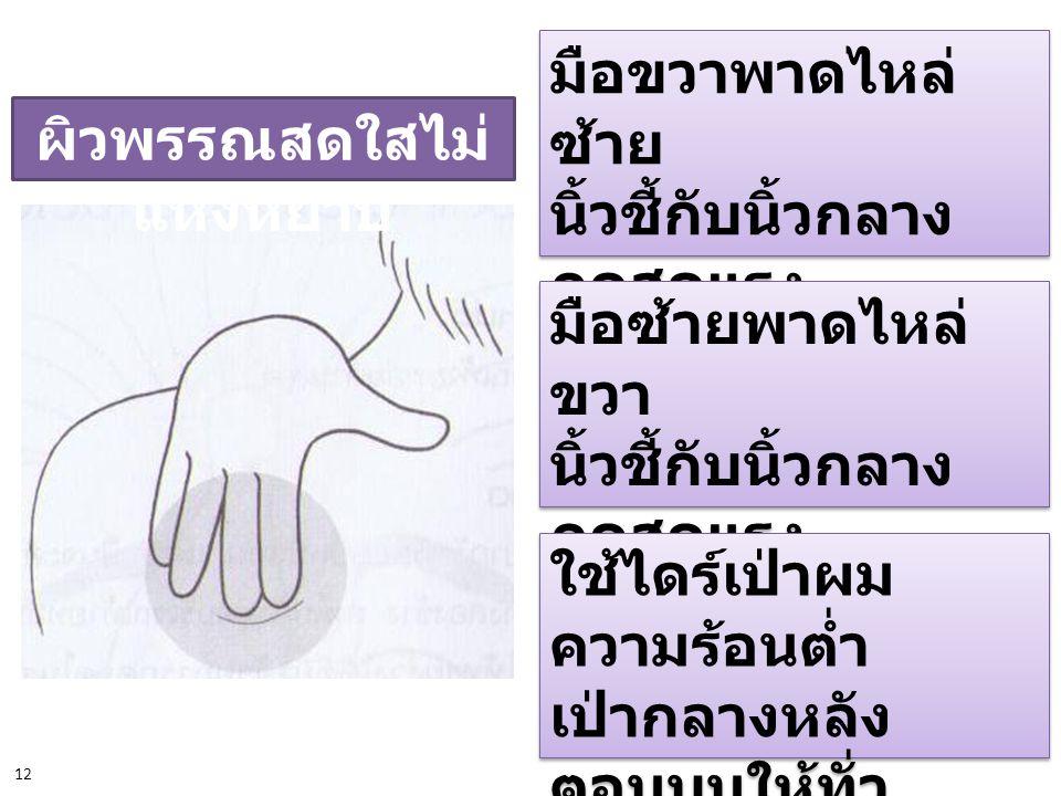 ผิวพรรณสดใสไม่ แห้งหยาบ มือขวาพาดไหล่ ซ้าย นิ้วชี้กับนิ้วกลาง กดสุดแรง นับ 5 แล้วคลาย ; 5 ครั้ง มือขวาพาดไหล่ ซ้าย นิ้วชี้กับนิ้วกลาง กดสุดแรง นับ 5 แ