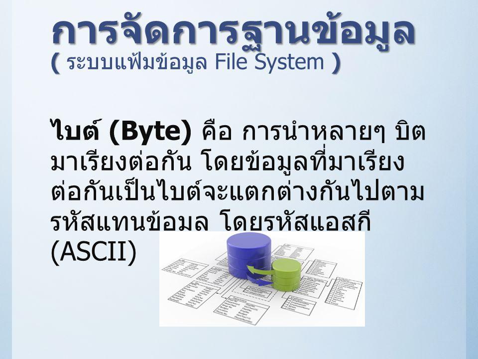 การจัดการฐานข้อมูล ( ) การจัดการฐานข้อมูล ( ระบบแฟ้มข้อมูล File System ) ไบต์ (Byte) คือ การนำหลายๆ บิต มาเรียงต่อกัน โดยข้อมูลที่มาเรียง ต่อกันเป็นไบ