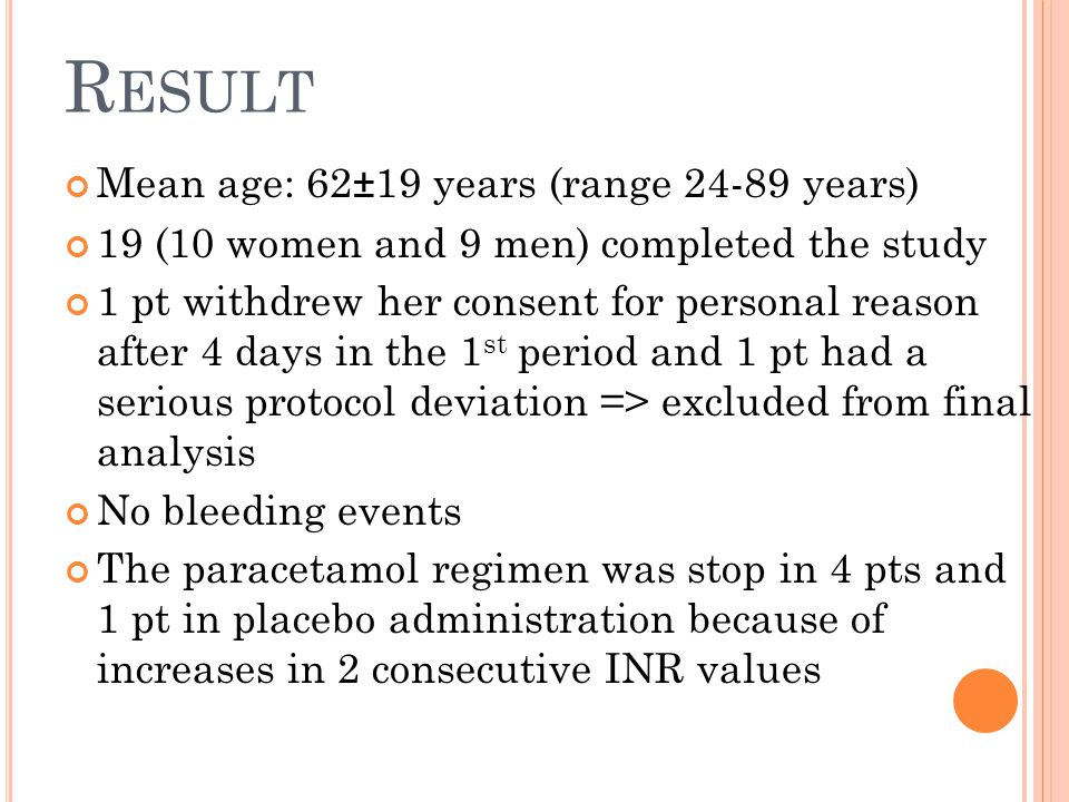 R ESULT ( CONT.) 1 pt had a serious non-drug-related adverse event (hospitalization for a sinoatrial block) and discontinued the trial on day 4 of the 2 nd period