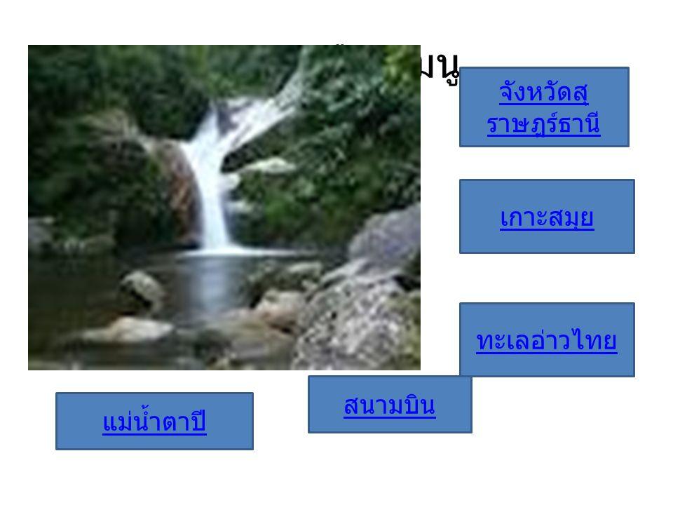 กรุณาเลือกเมนู จังหวัดสุ ราษฎร์ธานี เกาะสมุย ทะเลอ่าวไทย สนามบิน แม่น้ำตาปี