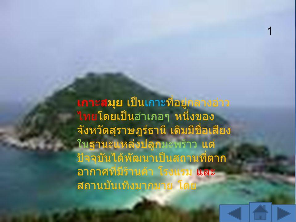 เกาะสมุย เป็นเกาะที่อยู่กลางอ่าว ไทยโดยเป็นอำเภอๆ หนึ่งของ จังหวัดสุราษฎร์ธานี เดิมมีชื่อเสียง ในฐานะแหล่งปลูกมะพร้าว แต่ ปัจจุบันได้พัฒนาเป็นสถานที่ต