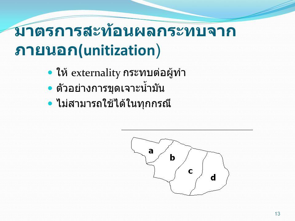 มาตรการสะท้อนผลกระทบจาก ภายนอก (unitization) 13 ให้ externality กระทบต่อผู้ทำ ตัวอย่างการขุดเจาะน้ำมัน ไม่สามารถใช้ได้ในทุกกรณี