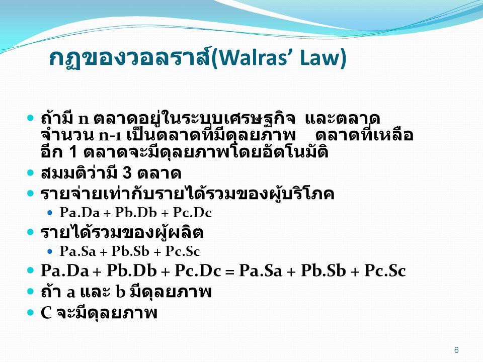 กฏของวอลราส์ (Walras' Law) ถ้ามี n ตลาดอยู่ในระบบเศรษฐกิจ และตลาด จำนวน n-1 เป็นตลาดที่มีดุลยภาพ ตลาดที่เหลือ อีก 1 ตลาดจะมีดุลยภาพโดยอัตโนมัติ สมมติว่ามี 3 ตลาด รายจ่ายเท่ากับรายได้รวมของผู้บริโภค Pa.Da + Pb.Db + Pc.Dc รายได้รวมของผู้ผลิต Pa.Sa + Pb.Sb + Pc.Sc Pa.Da + Pb.Db + Pc.Dc = Pa.Sa + Pb.Sb + Pc.Sc ถ้า a และ b มีดุลยภาพ C จะมีดุลยภาพ 6