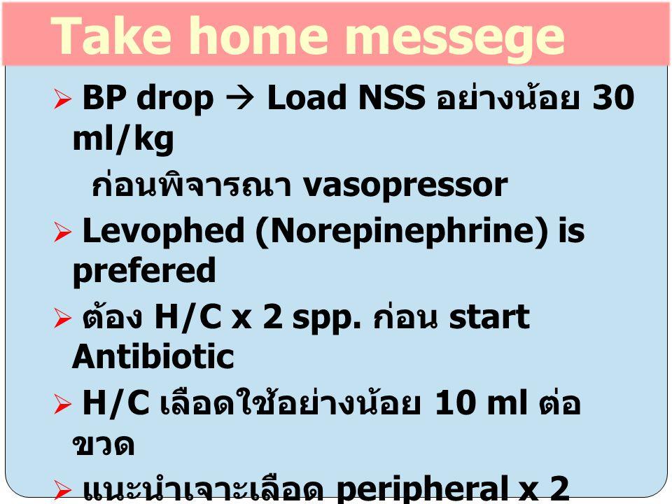  BP drop  Load NSS อย่างน้อย 30 ml/kg ก่อนพิจารณา vasopressor  Levophed (Norepinephrine) is prefered  ต้อง H/C x 2 spp. ก่อน start Antibiotic  H/