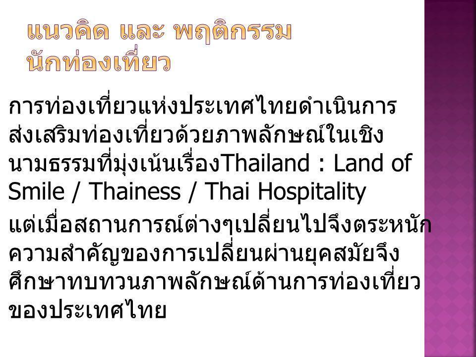 การท่องเที่ยวแห่งประเทศไทยดำเนินการ ส่งเสริมท่องเที่ยวด้วยภาพลักษณ์ในเชิง นามธรรมที่มุ่งเน้นเรื่อง Thailand : Land of Smile / Thainess / Thai Hospitality แต่เมื่อสถานการณ์ต่างๆเปลี่ยนไปจึงตระหนัก ความสำคัญของการเปลี่ยนผ่านยุคสมัยจึง ศึกษาทบทวนภาพลักษณ์ด้านการท่องเที่ยว ของประเทศไทย