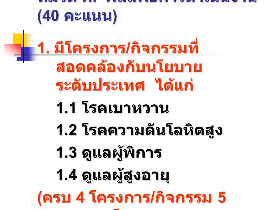 หมวด ค.ผลลัพธ์การดำเนินงาน (40 คะแนน ) 1.