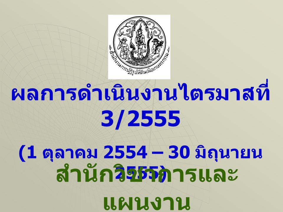 ผลการดำเนินงานไตรมาสที่ 3/2555 (1 ตุลาคม 2554 – 30 มิถุนายน 2555) สำนักวิชาการและ แผนงาน