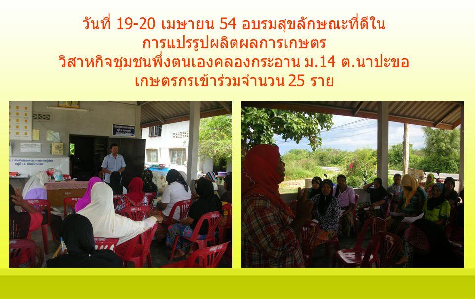 วันที่ 19-20 เมษายน 54 อบรมสุขลักษณะที่ดีใน การแปรรูปผลิตผลการเกษตร วิสาหกิจชุมชนพึ่งตนเองคลองกระอาน ม.14 ต.นาปะขอ เกษตรกรเข้าร่วมจำนวน 25 ราย