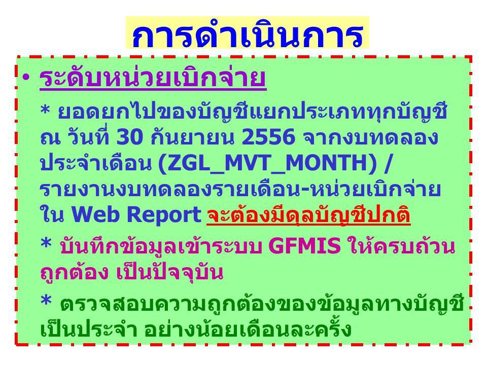 การดำเนินการ ระดับหน่วยเบิกจ่าย * ยอดยกไปของบัญชีแยกประเภททุกบัญชี ณ วันที่ 30 กันยายน 2556 จากงบทดลอง ประจำเดือน (ZGL_MVT_MONTH) / รายงานงบทดลองรายเดือน - หน่วยเบิกจ่าย ใน Web Report จะต้องมีดุลบัญชีปกติ * บันทึกข้อมูลเข้าระบบ GFMIS ให้ครบถ้วน ถูกต้อง เป็นปัจจุบัน * ตรวจสอบความถูกต้องของข้อมูลทางบัญชี เป็นประจำ อย่างน้อยเดือนละครั้ง