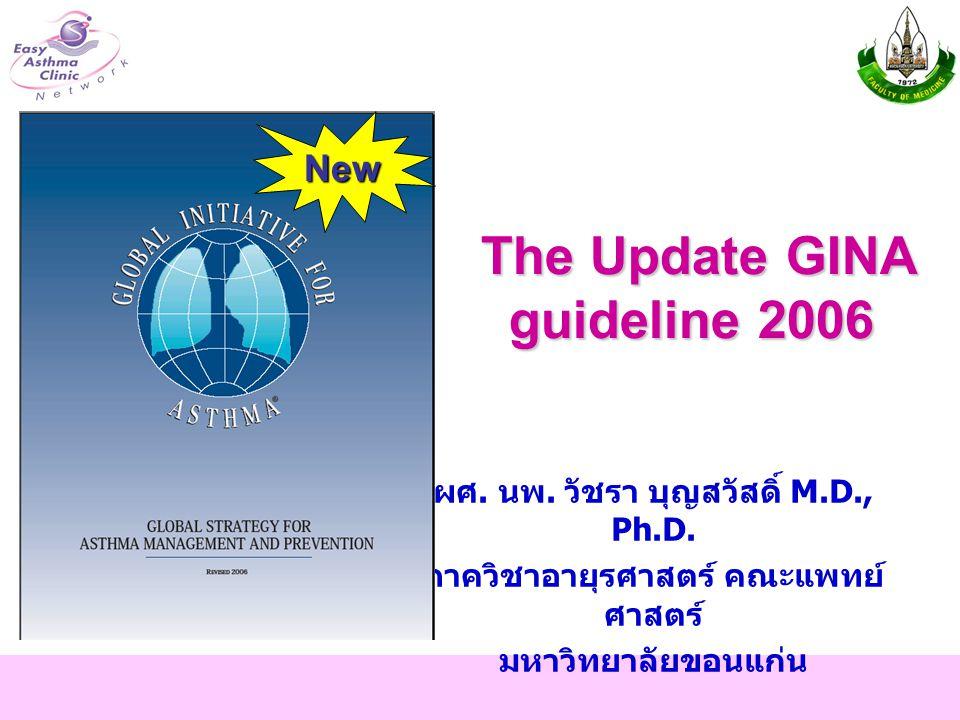 The Update GINA guideline 2006 ผศ. นพ. วัชรา บุญสวัสดิ์ M.D., Ph.D. ภาควิชาอายุรศาสตร์ คณะแพทย์ ศาสตร์ มหาวิทยาลัยขอนแก่น New