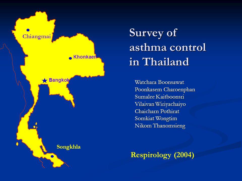 Khonkaen Bangkok Chiangmai Songkhla Survey of asthma control in Thailand Watchara Boonsawat Poonkasem Charoenphan Sumalee Kaitboonsri Vilaivan Wiriyac