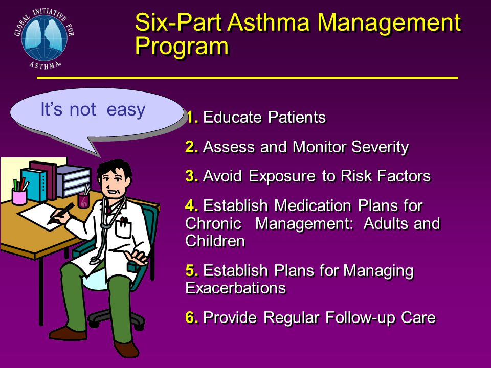 1. Educate Patients 2. Assess and Monitor Severity 3. Avoid Exposure to Risk Factors 4. Establish Medication Plans for Chronic Management: Adults and