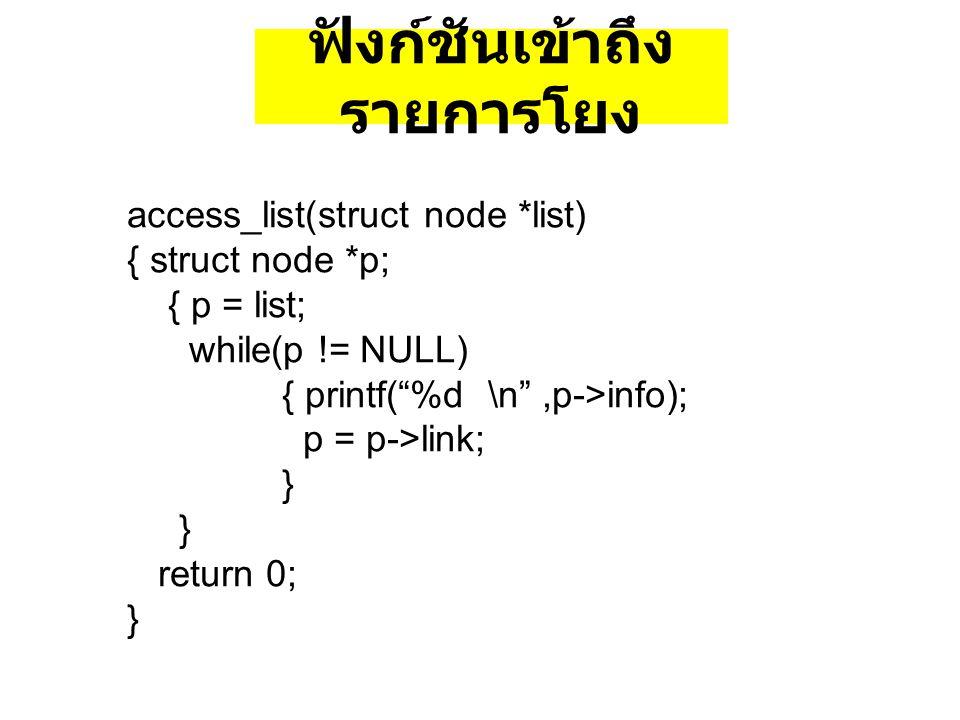 "access_list(struct node *list) { struct node *p; { p = list; while(p != NULL) { printf(""%d \n"",p->info); p = p->link; } return 0; } ฟังก์ชันเข้าถึง รา"