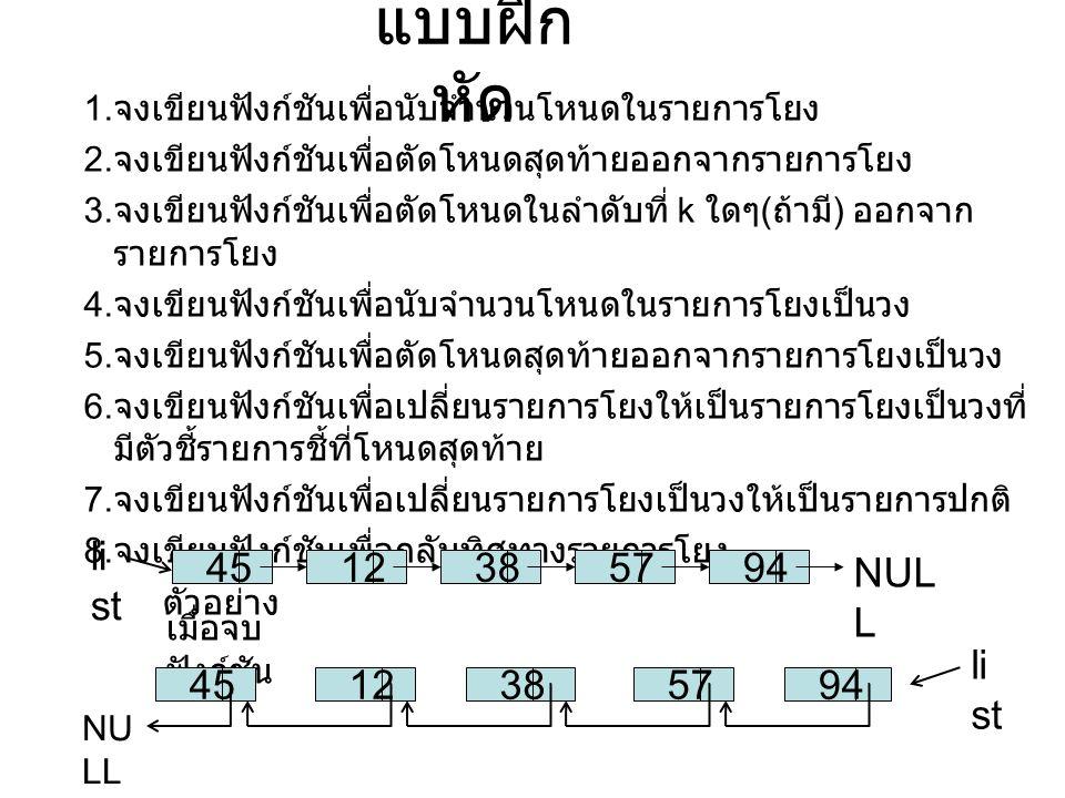 แบบฝึก หัด 1. จงเขียนฟังก์ชันเพื่อนับจำนวนโหนดในรายการโยง 2. จงเขียนฟังก์ชันเพื่อตัดโหนดสุดท้ายออกจากรายการโยง 3. จงเขียนฟังก์ชันเพื่อตัดโหนดในลำดับที