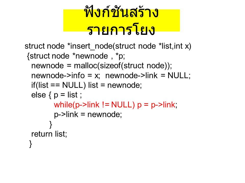 ฟังก์ชันสร้าง รายการโยง struct node *insert_node(struct node *list,int x) {struct node *newnode, *p; newnode = malloc(sizeof(struct node)); newnode->i
