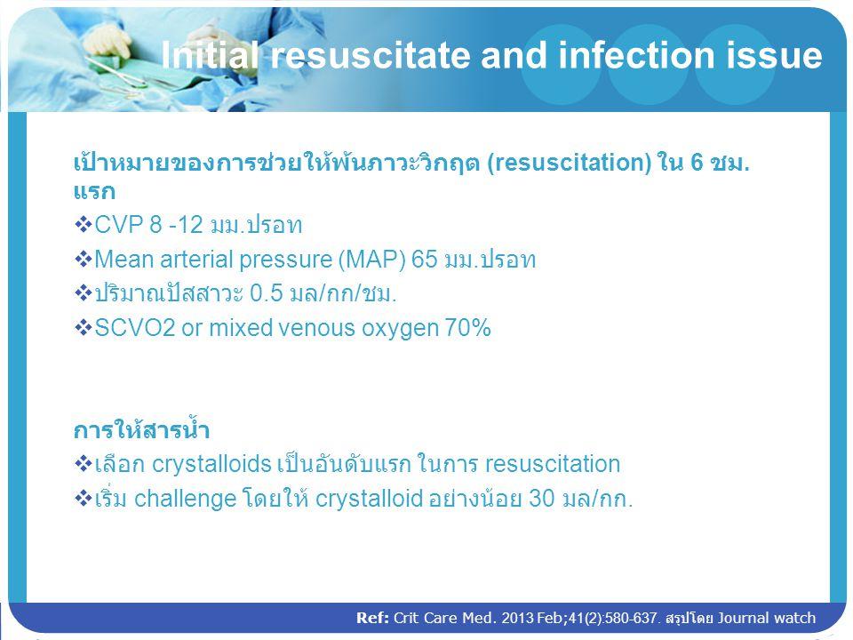 Ref: Crit Care Med. 2013 Feb;41(2):580-637. สรุปโดย Journal watch Initial resuscitate and infection issue เป้าหมายของการช่วยให้พ้นภาวะวิกฤต (resuscita