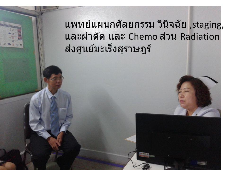 แพทย์แผนกศัลยกรรม วินิจฉัย,staging, และผ่าตัด และ Chemo ส่วน Radiation ส่งศูนย์มะเร็งสุราษฎร์