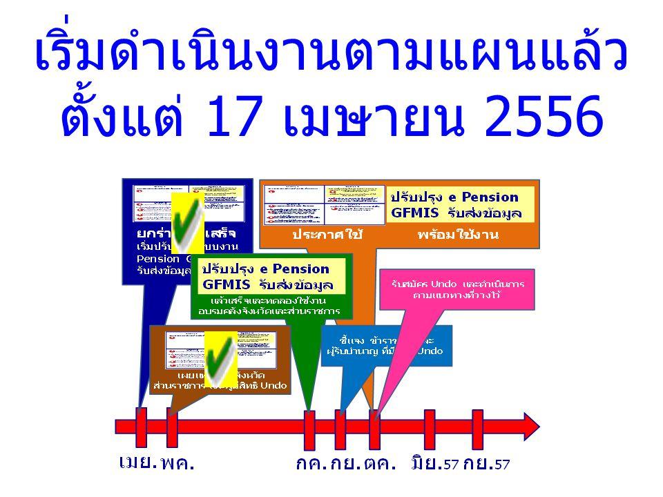 เริ่มดำเนินงานตามแผนแล้ว ตั้งแต่ 17 เมษายน 2556