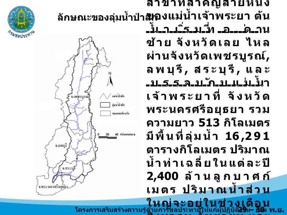 29 – 30 พ.ย. 2556 การบริหารจัดการน้ำของเขื่อนป่าสักชลสิทธิ์ 1.