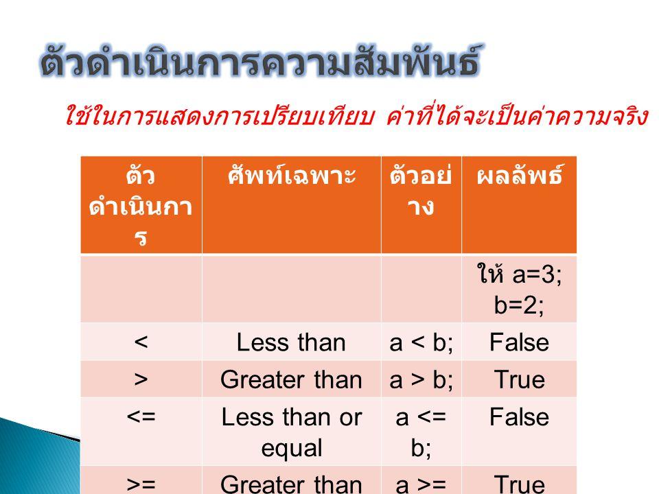 ตัว ดำเนินกา ร ศัพท์เฉพาะตัวอย่ าง ผลลัพธ์ ให้ a=3; b=2; <Less thana < b;False >Greater thana > b;True <=Less than or equal a <= b; False >=Greater than or equal a >= b; True ==Equala == b; False !=Not equala != b; True ใช้ในการแสดงการเปรียบเทียบ ค่าที่ได้จะเป็นค่าความจริง