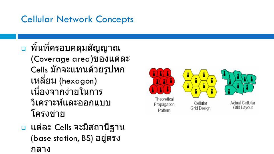 Cellular Network Concepts  พื้นที่ครอบคลุมสัญญาณ (Coverage area) ของแต่ละ Cells มักจะแทนด้วยรูปหก เหลี่ยม (hexagon) เนื่องจากง่ายในการ วิเคราะห์และออกแบบ โครงข่าย  แต่ละ Cells จะมีสถานีฐาน (base station, BS) อยู่ตรง กลาง