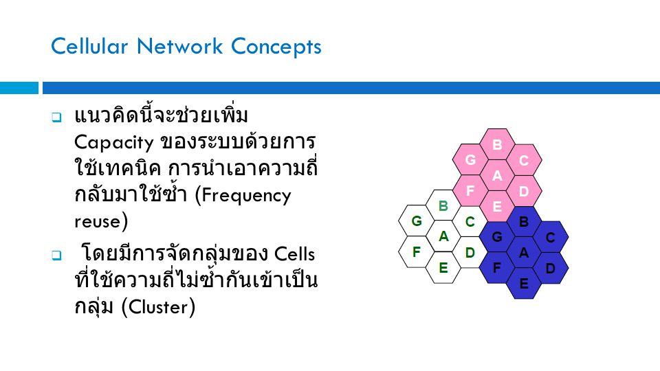 Cellular Network Concepts  แนวคิดนี้จะช่วยเพิ่ม Capacity ของระบบด้วยการ ใช้เทคนิค การนำเอาความถี่ กลับมาใช้ซ้ำ (Frequency reuse)  โดยมีการจัดกลุ่มของ Cells ที่ใช้ความถี่ไม่ซ้ำกันเข้าเป็น กลุ่ม (Cluster)