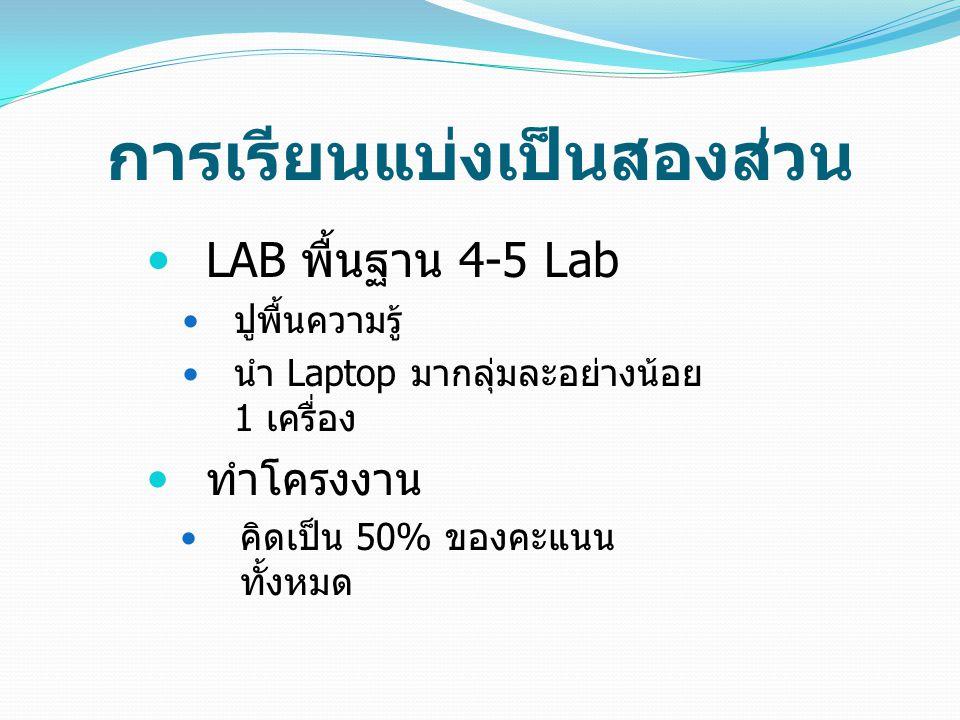 การเรียนแบ่งเป็นสองส่วน LAB พื้นฐาน 4-5 Lab ปูพื้นความรู้ นำ Laptop มากลุ่มละอย่างน้อย 1 เครื่อง ทำโครงงาน คิดเป็น 50% ของคะแนน ทั้งหมด