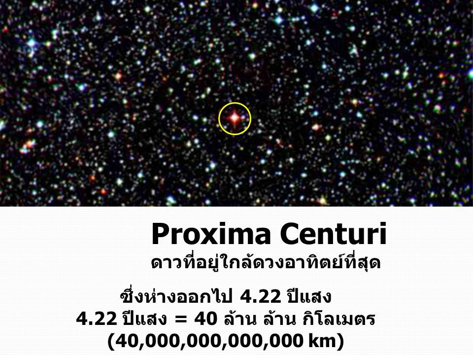 ซึ่งห่างออกไป 4.22 ปีแสง 4.22 ปีแสง = 40 ล้าน ล้าน กิโลเมตร (40,000,000,000,000 km) Proxima Centuri ดาวที่อยู่ใกล้ดวงอาทิตย์ที่สุด