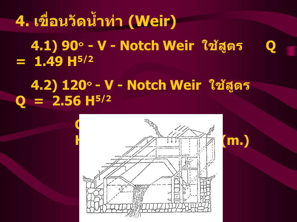 4. เขื่อนวัดน้ำท่า (Weir) 4.1) 90 ๐ - V - Notch Weir ใช้สูตร Q = 1.49 H 5/2 4.2) 120 ๐ - V - Notch Weir ใช้สูตร Q = 2.56 H 5/2 Q = Discharge (cms) H =