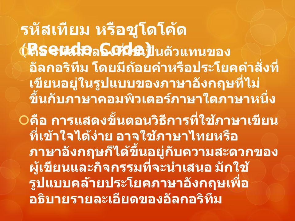 รหัสเทียม หรือซูโดโค้ด (Pseudo Code)  คือ รหัสลำลองที่ใช้เป็นตัวแทนของ อัลกอริทึม โดยมีถ้อยคำหรือประโยคคำสั่งที่ เขียนอยู่ในรูปแบบของภาษาอังกฤษที่ไม่
