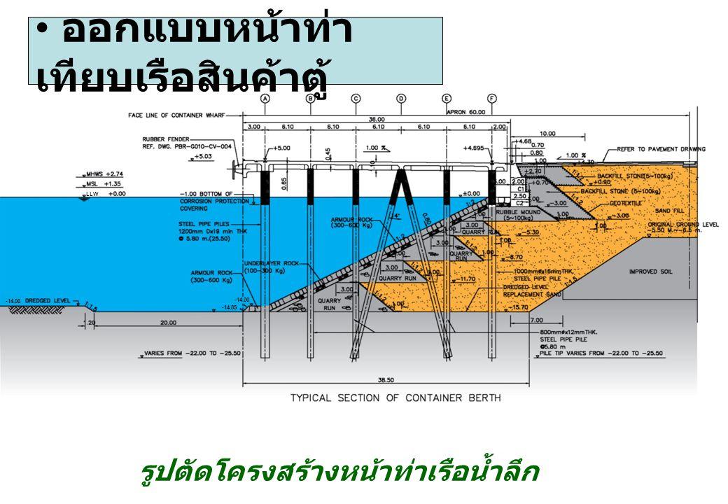 ออกแบบหน้าท่า เทียบเรือสินค้าตู้ รูปตัดโครงสร้างหน้าท่าเรือน้ำลึก LLW -14.00 -14.85