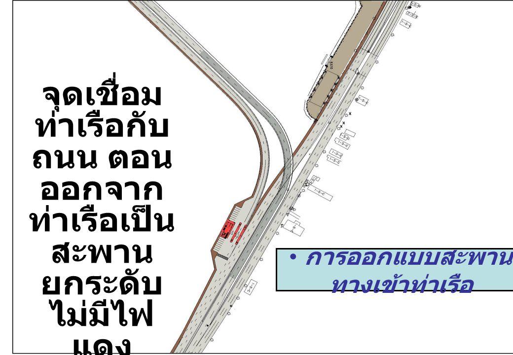 19 จุดเชื่อม ท่าเรือกับ ถนน ตอน ออกจาก ท่าเรือเป็น สะพาน ยกระดับ ไม่มีไฟ แดง การออกแบบสะพาน ทางเข้าท่าเรือ