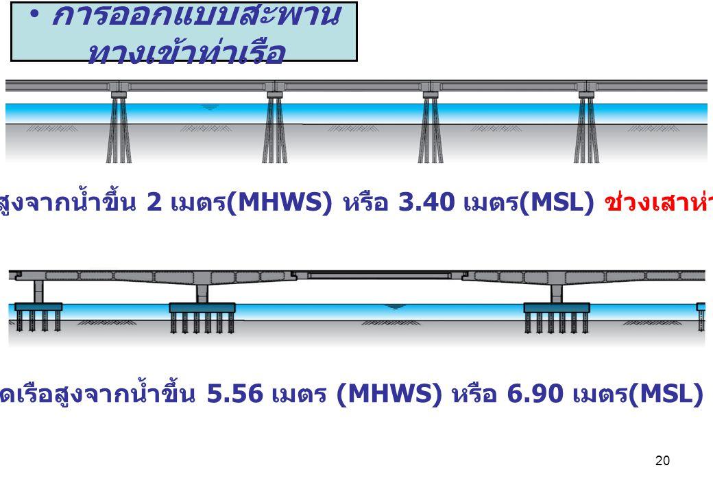 20 สะพานปกติสูงจากน้ำขึ้น 2 เมตร (MHWS) หรือ 3.40 เมตร (MSL) ช่วงเสาห่าง 30 เมตร สะพานช่องลอดเรือสูงจากน้ำขึ้น 5.56 เมตร (MHWS) หรือ 6.90 เมตร (MSL) ก