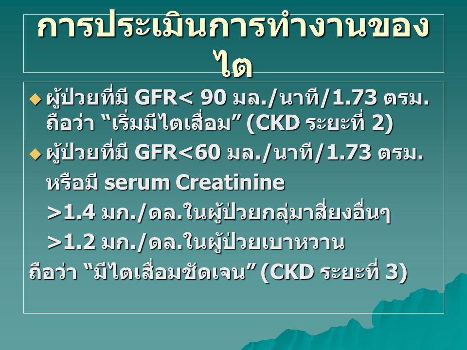 การแบ่งระยะโรคไตเรื้อรัง ระยะคำจำกัดความ GFR ( มล./ นาที /1.73 ตรม.) 0ผู้ที่มีปัจจัยเสี่ยงต่อโรคไตเรื้อรัง 90 ( ร่วมกับปัจจัยเสี่ยง ) 1 ไตผิดปกติและ GFR ปกติหรือเพิ่มขึ้น 90 2 ไตผิดปกติและ GFR ลดลงเล็กน้อย 60-89 3 GFR ลดลงปานกลาง 30-59 4 GFR ลดลงมาก 15-29 5ไตวายระยะสุดท้าย <15 ( หรือต้องล้างไต )