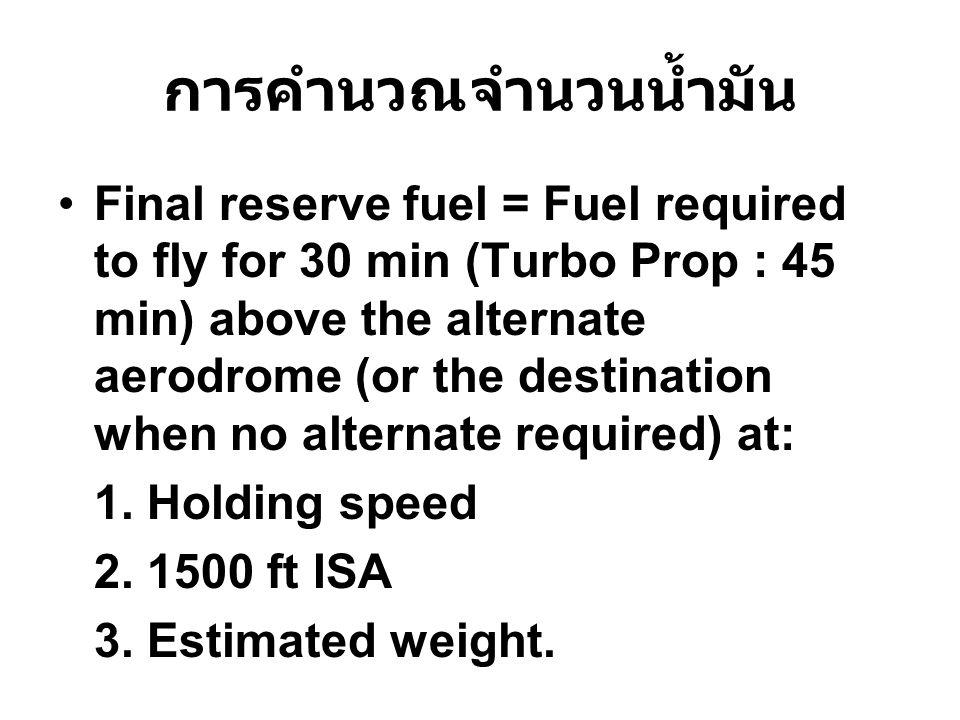 การคำนวณจำนวนน้ำมัน Final reserve fuel = Fuel required to fly for 30 min (Turbo Prop : 45 min) above the alternate aerodrome (or the destination when