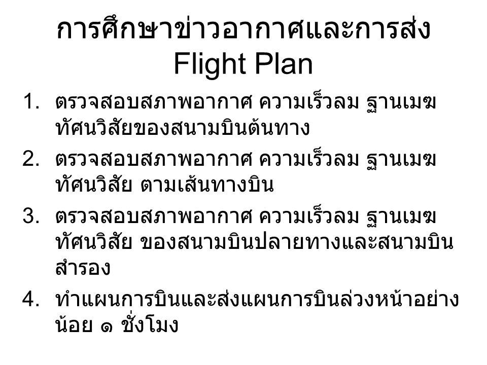การศึกษาข่าวอากาศและการส่ง Flight Plan 1. ตรวจสอบสภาพอากาศ ความเร็วลม ฐานเมฆ ทัศนวิสัยของสนามบินต้นทาง 2. ตรวจสอบสภาพอากาศ ความเร็วลม ฐานเมฆ ทัศนวิสัย
