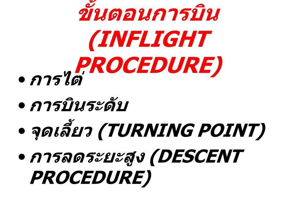 ขั้นตอนการบิน (INFLIGHT PROCEDURE) การไต่ การบินระดับ จุดเลี้ยว (TURNING POINT) การลดระยะสูง (DESCENT PROCEDURE)