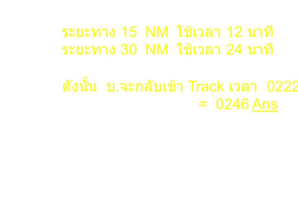 ระยะทาง 15 NM ใช้เวลา 12 นาที ระยะทาง 30 NM ใช้เวลา 24 นาที ดังนั้น บ. จะกลับเข้า Track เวลา 0222+24 = 0246 Ans
