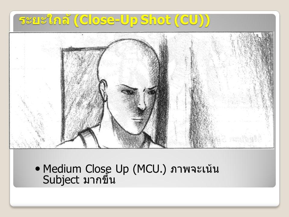ระยะใกล้ (Close-Up Shot (CU)) Medium Close Up (MCU.) ภาพจะเน้น Subject มากขึ้น
