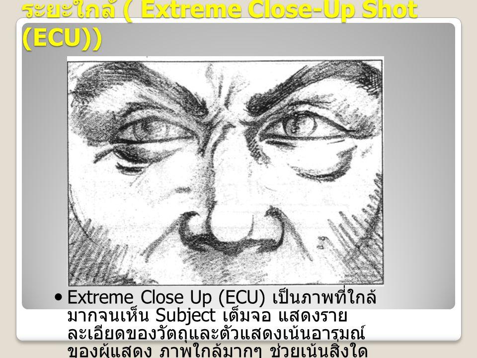 ระยะใกล้ ( Extreme Close-Up Shot (ECU)) Extreme Close Up (ECU) เป็นภาพที่ใกล้ มากจนเห็น Subject เต็มจอ แสดงราย ละเอียดของวัตถุและตัวแสดงเน้นอารมณ์ ของผู้แสดง ภาพใกล้มากๆ ช่วยเน้นสิ่งใด สิ่งหนึ่งเป็น พิเศษ