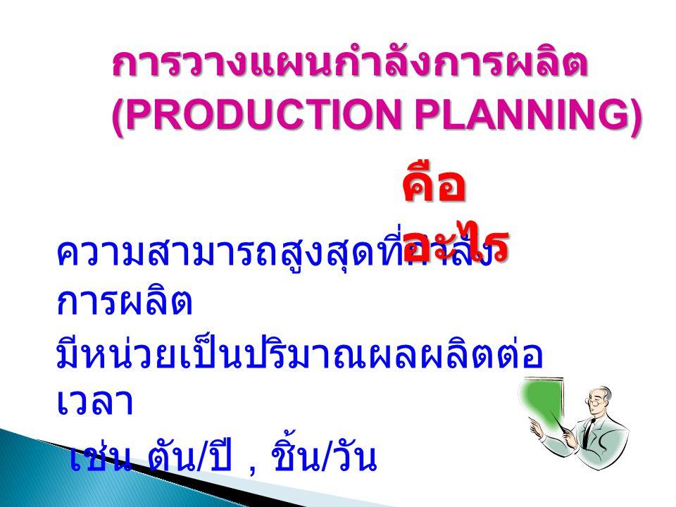 ความสามารถสูงสุดที่กำลัง การผลิต มีหน่วยเป็นปริมาณผลผลิตต่อ เวลา เช่น ตัน / ปี, ชิ้น / วัน คือ อะไร การวางแผนกำลังการผลิต (PRODUCTION PLANNING)